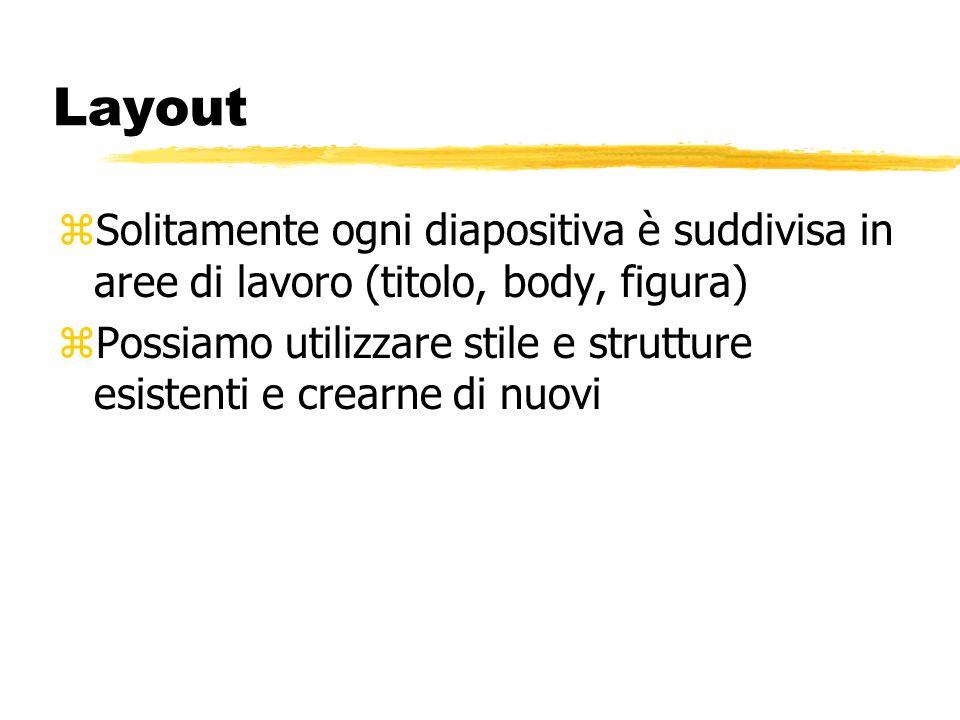 Cosa si può fare in PP? zDefinire il layout delle diapositive zUtilizzare vari tipi di visualizzazione zInserire figure e documenti Excel, Word,… zPer