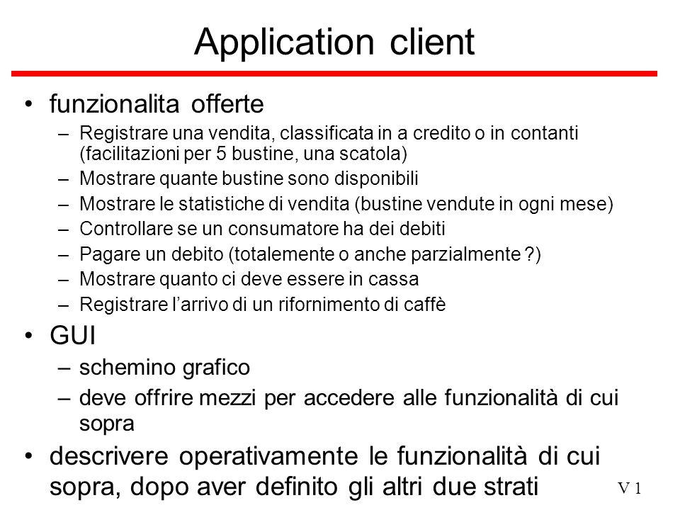V 1 Application client funzionalita offerte –Registrare una vendita, classificata in a credito o in contanti (facilitazioni per 5 bustine, una scatola