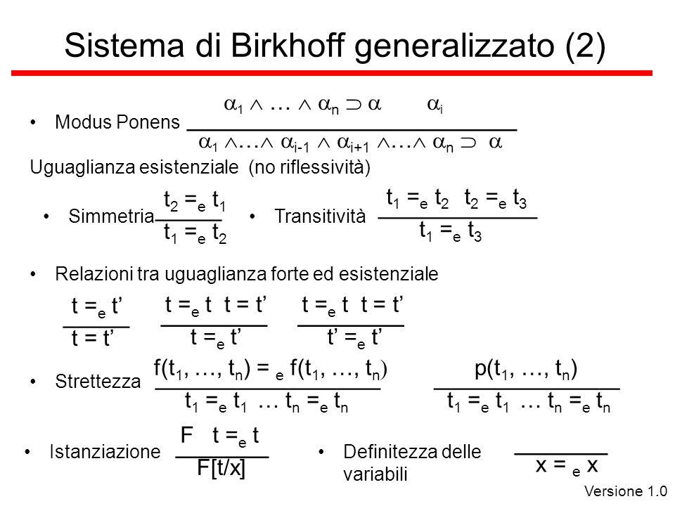 Versione 1.0 Sistema di Birkhoff generalizzato (2) Modus Ponens Uguaglianza esistenziale (no riflessività) Simmetria t 1 = e t 2 _____ t 2 = e t 1 Transitività t 1 = e t 3 ____________ t 1 = e t 2 t 2 = e t 3 Relazioni tra uguaglianza forte ed esistenziale t = t _____ t = e t ________ t = e t t = t t = e t ________ t = e t t = t Strettezza t 1 = e t 1 … t n = e t n _________________ f(t 1, …, t n ) = e f(t 1, …, t n t 1 = e t 1 … t n = e t n ______________ p(t 1, …, t n ) Istanziazione F[t/x] _______ F t = e t Definitezza delle variabili x = e x _______ 1 … i-1 i+1 … n _________________________ 1 … n i