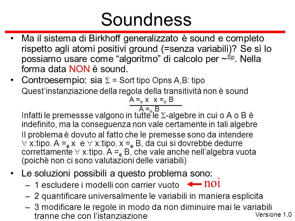 Versione 1.0 Soundness Ma il sistema di Birkhoff generalizzato è sound e completo rispetto agli atomi positivi ground (=senza variabili).