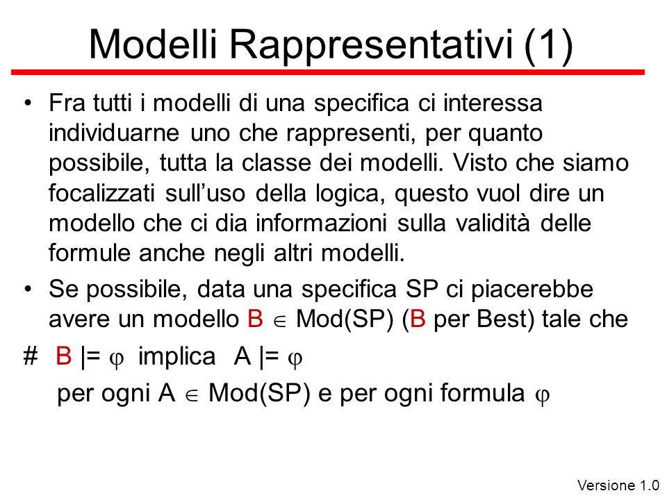 Versione 1.0 Modelli Rappresentativi (1) Fra tutti i modelli di una specifica ci interessa individuarne uno che rappresenti, per quanto possibile, tutta la classe dei modelli.