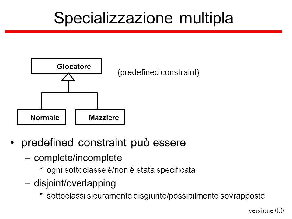 versione 0.0 Specializzazione multipla predefined constraint può essere –complete/incomplete *ogni sottoclasse è/non è stata specificata –disjoint/ove