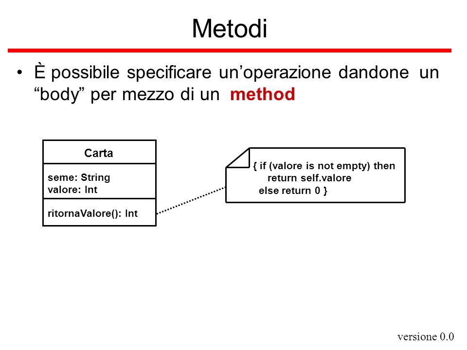 versione 0.0 Metodi È possibile specificare unoperazione dandone un body per mezzo di un method Carta seme: String valore: Int ritornaValore(): Int {