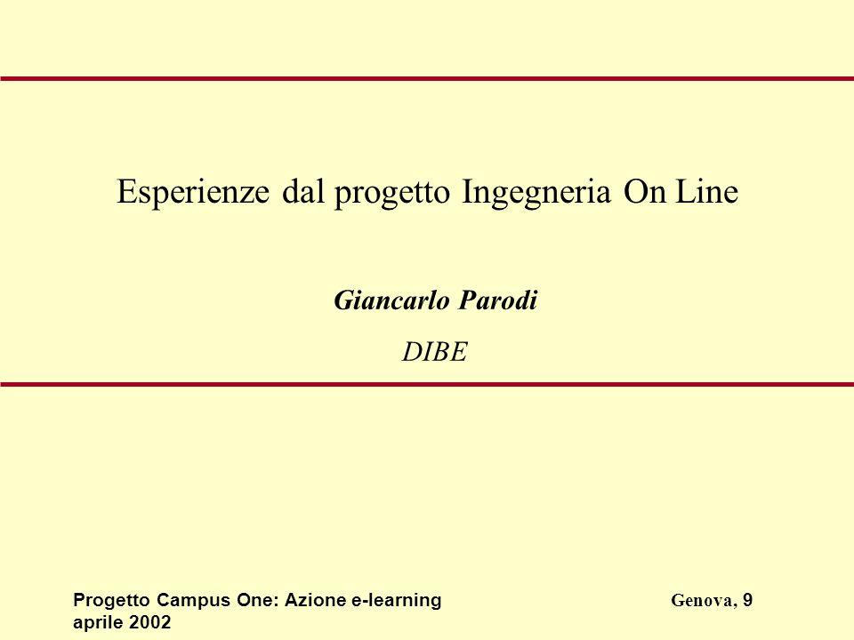Progetto Campus One: Azione e-learningGenova, 9 aprile 2002 Giancarlo Parodi DIBE Esperienze dal progetto Ingegneria On Line