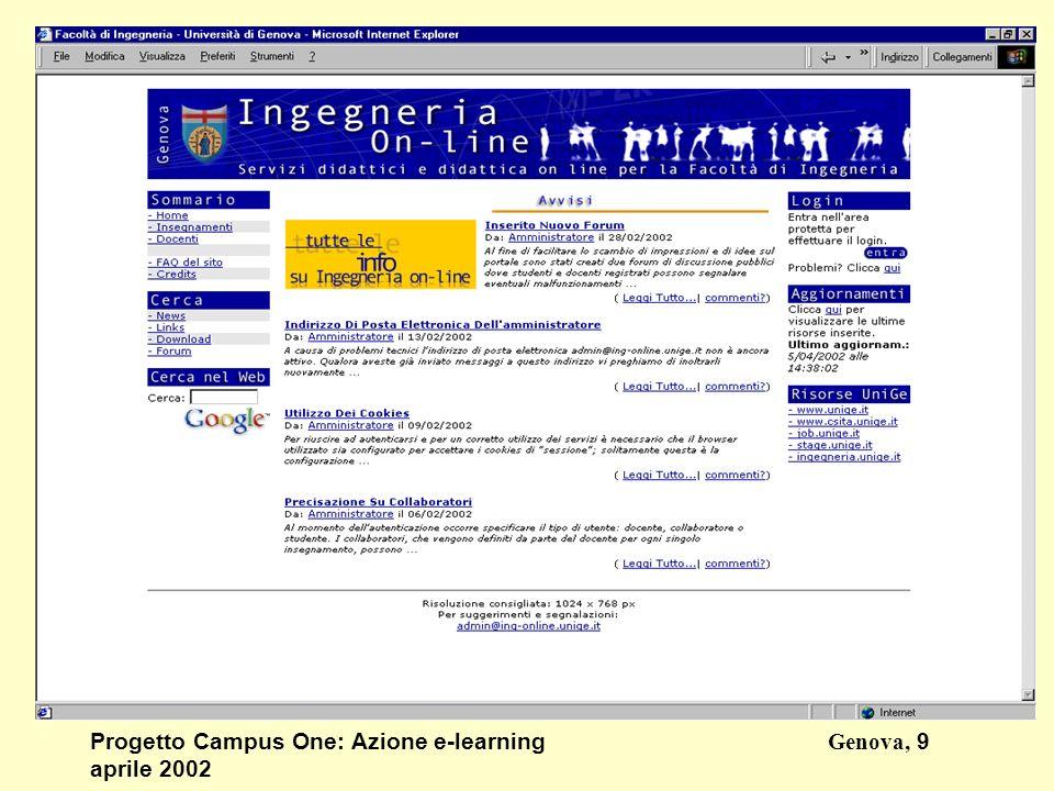 Progetto Campus One: Azione e-learningGenova, 9 aprile 2002