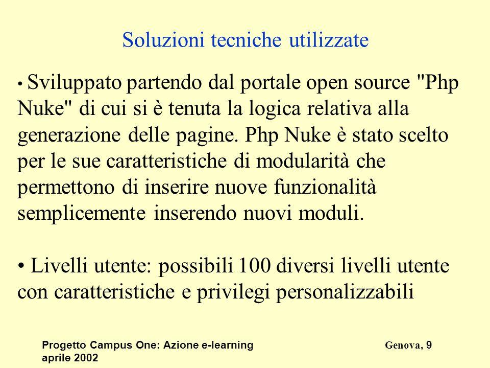 Progetto Campus One: Azione e-learningGenova, 9 aprile 2002 Soluzioni tecniche utilizzate Sviluppato partendo dal portale open source Php Nuke di cui si è tenuta la logica relativa alla generazione delle pagine.