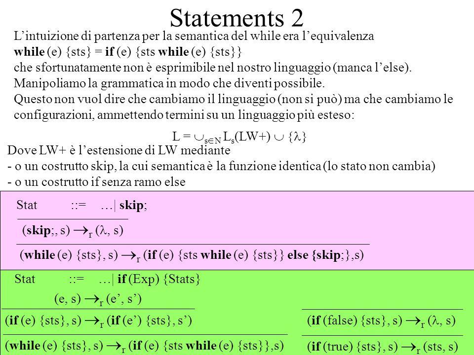 Statements 2 Lintuizione di partenza per la semantica del while era lequivalenza while (e) {sts} = if (e) {sts while (e) {sts}} che sfortunatamente non è esprimibile nel nostro linguaggio (manca lelse).
