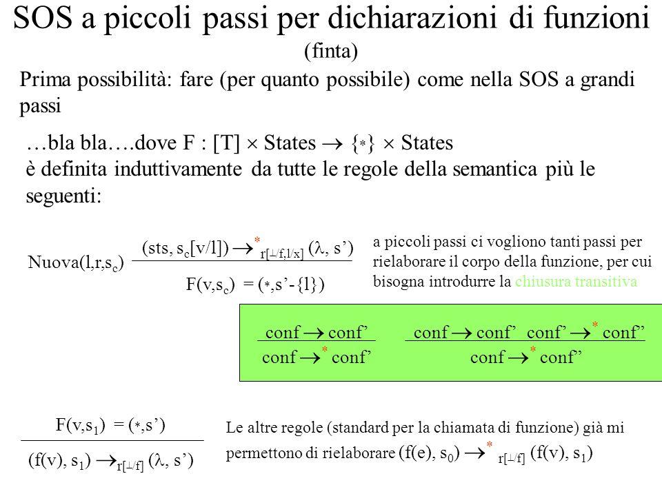SOS a piccoli passi per dichiarazioni di funzioni (finta) …bla bla….dove F : [T] States { * } States è definita induttivamente da tutte le regole della semantica più le seguenti: F(v,s c ) = ( *,s-{l}) (sts, s c [v/l]) * r [ /f,l/x] (, s) (f(v), s 1 ) r [ /f] (, s) F(v,s 1 ) = ( *,s) Nuova(l,r,s c ) Prima possibilità: fare (per quanto possibile) come nella SOS a grandi passi conf * conf conf a piccoli passi ci vogliono tanti passi per rielaborare il corpo della funzione, per cui bisogna introdurre la chiusura transitiva conf * conf conf Le altre regole (standard per la chiamata di funzione) già mi permettono di rielaborare (f(e), s 0 ) * r [ /f] (f(v), s 1 )
