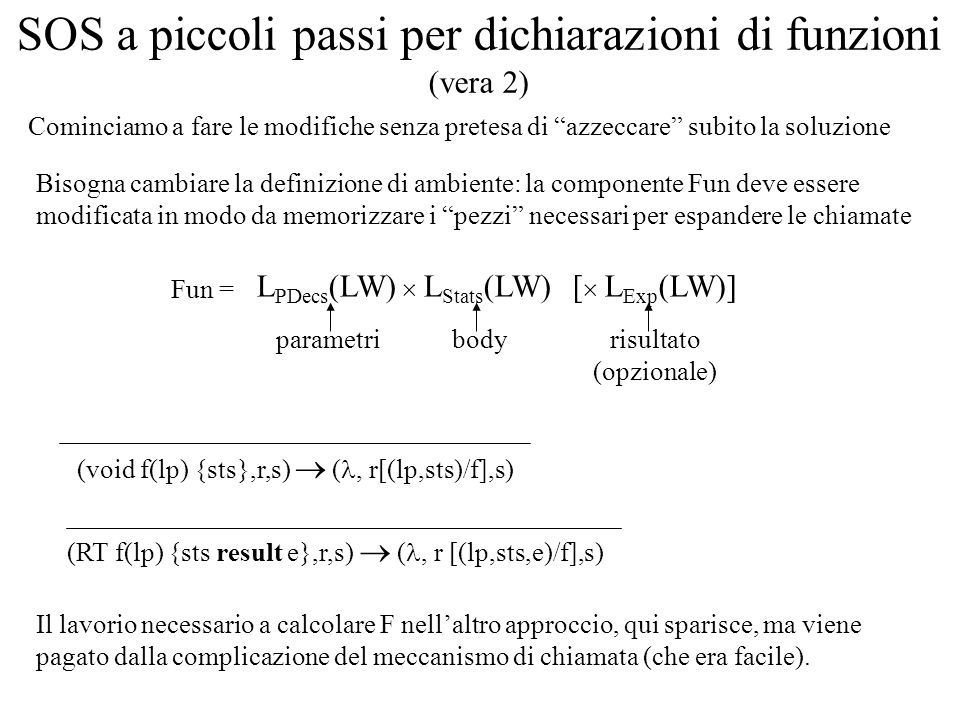 Cominciamo a fare le modifiche senza pretesa di azzeccare subito la soluzione SOS a piccoli passi per dichiarazioni di funzioni (vera 2) Fun = Bisogna cambiare la definizione di ambiente: la componente Fun deve essere modificata in modo da memorizzare i pezzi necessari per espandere le chiamate L PDecs (LW) L Stats (LW)[ L Exp (LW)] parametribodyrisultato (opzionale) (void f(lp) {sts},r,s) (, r[(lp,sts)/f],s) (RT f(lp) {sts result e},r,s) (, r [(lp,sts,e)/f],s) Il lavorio necessario a calcolare F nellaltro approccio, qui sparisce, ma viene pagato dalla complicazione del meccanismo di chiamata (che era facile).