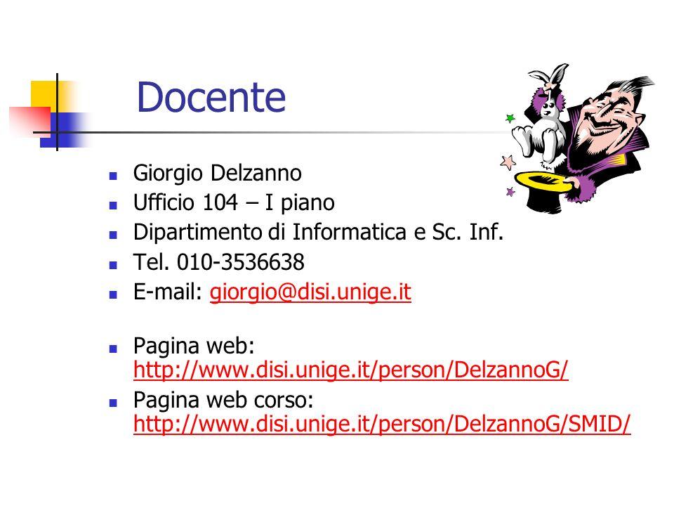 Docente Giorgio Delzanno Ufficio 104 – I piano Dipartimento di Informatica e Sc. Inf. Tel. 010-3536638 E-mail: giorgio@disi.unige.itgiorgio@disi.unige