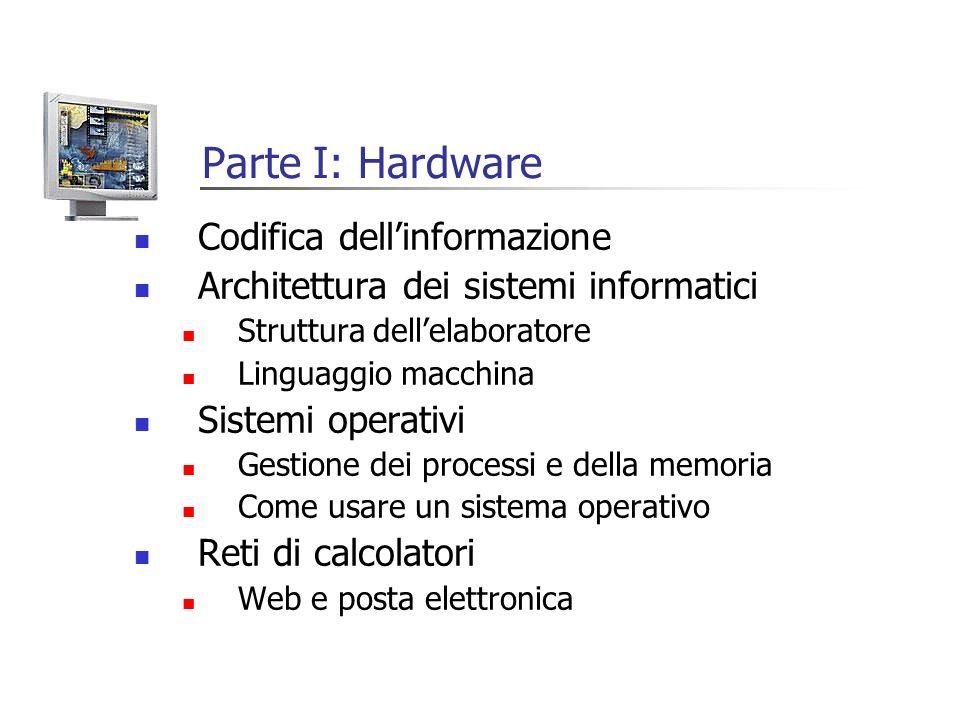 Parte I: Hardware Codifica dellinformazione Architettura dei sistemi informatici Struttura dellelaboratore Linguaggio macchina Sistemi operativi Gesti