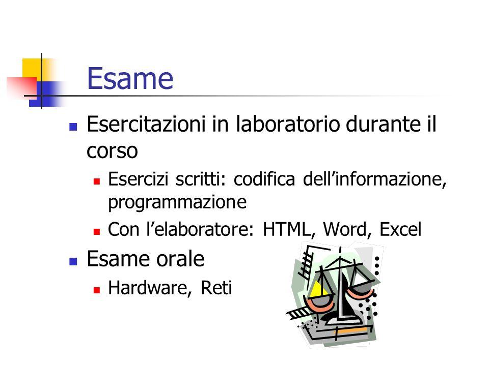 Esame Esercitazioni in laboratorio durante il corso Esercizi scritti: codifica dellinformazione, programmazione Con lelaboratore: HTML, Word, Excel Es