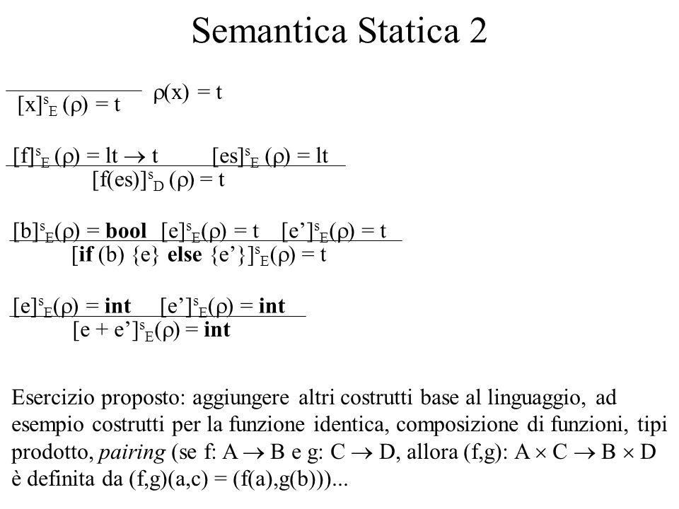 Semantica Statica 2 [x] s E ( ) = t (x) = t [f(es)] s D ( ) = t [f] s E ( ) = lt t[es] s E ( ) = lt [if (b) {e} else {e}] s E ( ) = t [e] s E ( ) = t