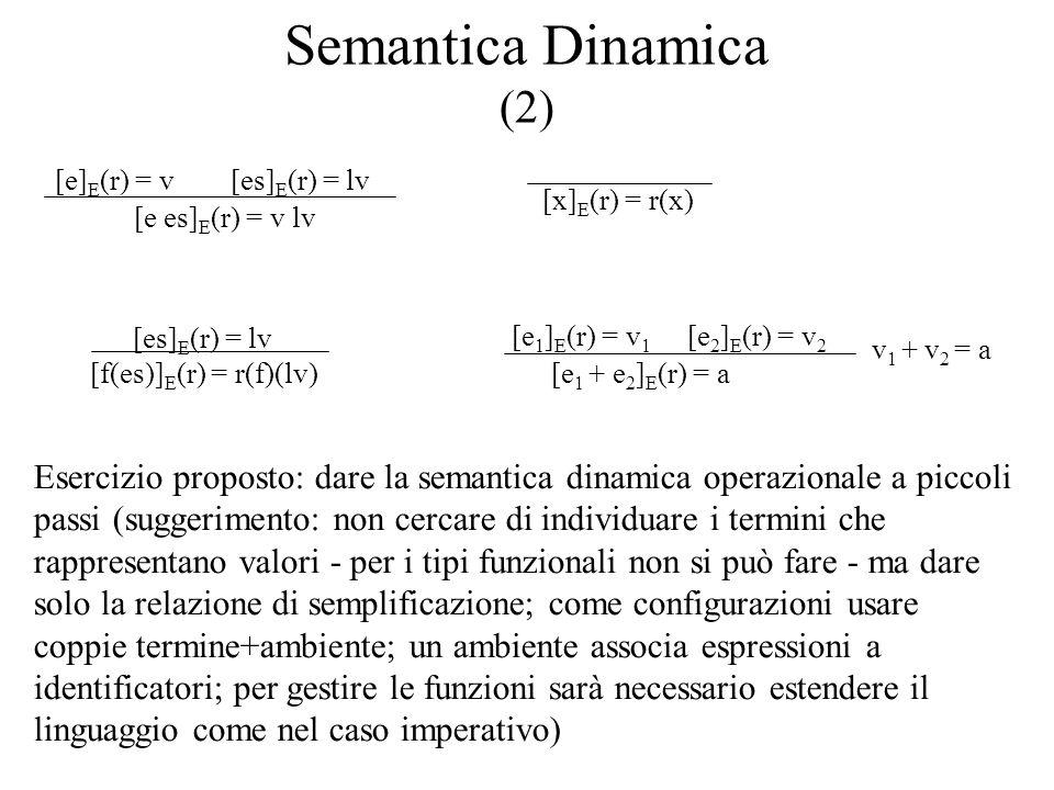 Semantica Dinamica (2) [e es] E (r) = v lv [e] E (r) = v[es] E (r) = lv [x] E (r) = r(x) [f(es)] E (r) = r(f)(lv) [es] E (r) = lv v 1 + v 2 = a [e 1 +