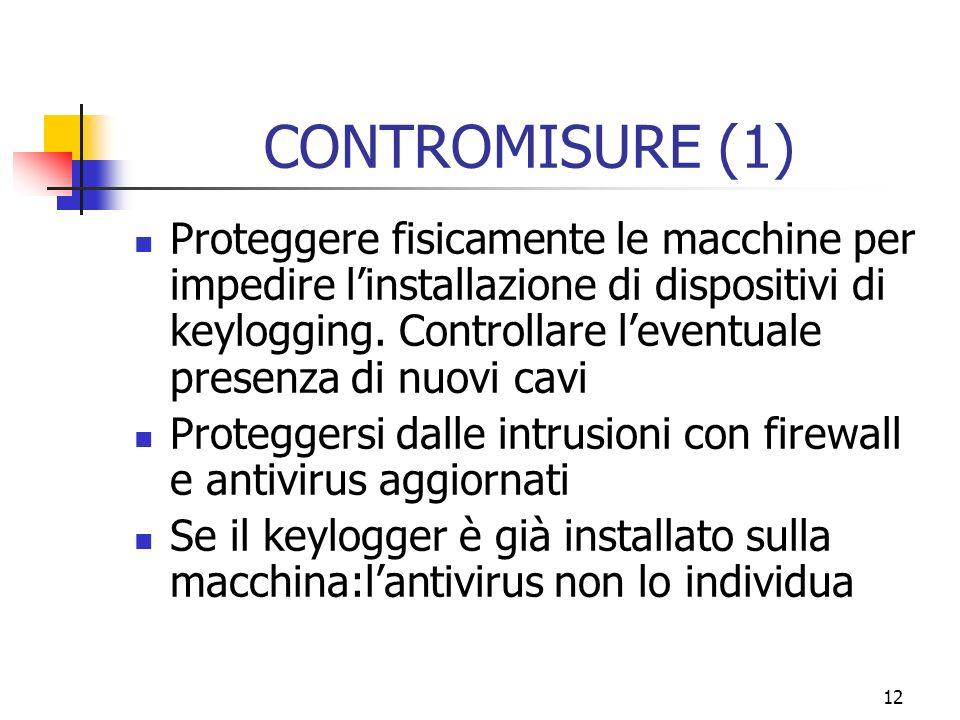 12 CONTROMISURE (1) Proteggere fisicamente le macchine per impedire linstallazione di dispositivi di keylogging.