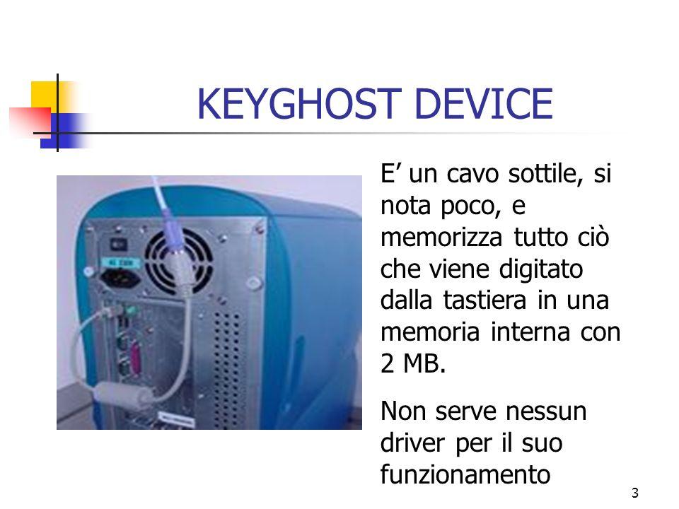 3 KEYGHOST DEVICE E un cavo sottile, si nota poco, e memorizza tutto ciò che viene digitato dalla tastiera in una memoria interna con 2 MB.