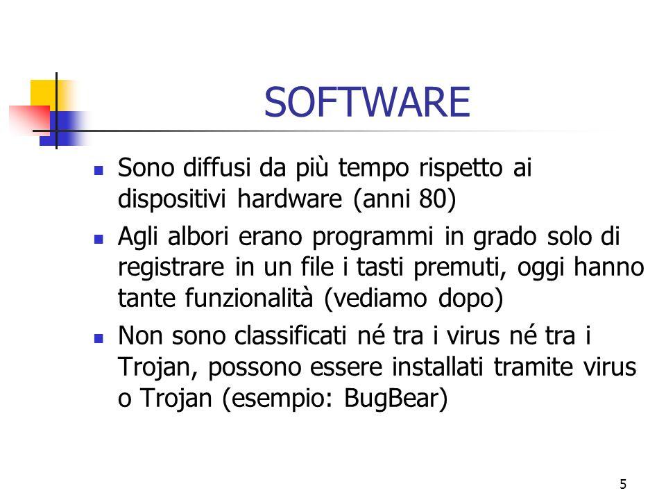5 SOFTWARE Sono diffusi da più tempo rispetto ai dispositivi hardware (anni 80) Agli albori erano programmi in grado solo di registrare in un file i tasti premuti, oggi hanno tante funzionalità (vediamo dopo) Non sono classificati né tra i virus né tra i Trojan, possono essere installati tramite virus o Trojan (esempio: BugBear)