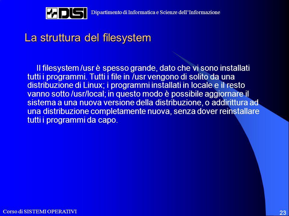 Corso di SISTEMI OPERATIVI Dipartimento di Informatica e Scienze dellInformazione 23 La struttura del filesystem Il filesystem /usr è spesso grande, dato che vi sono installati tutti i programmi.