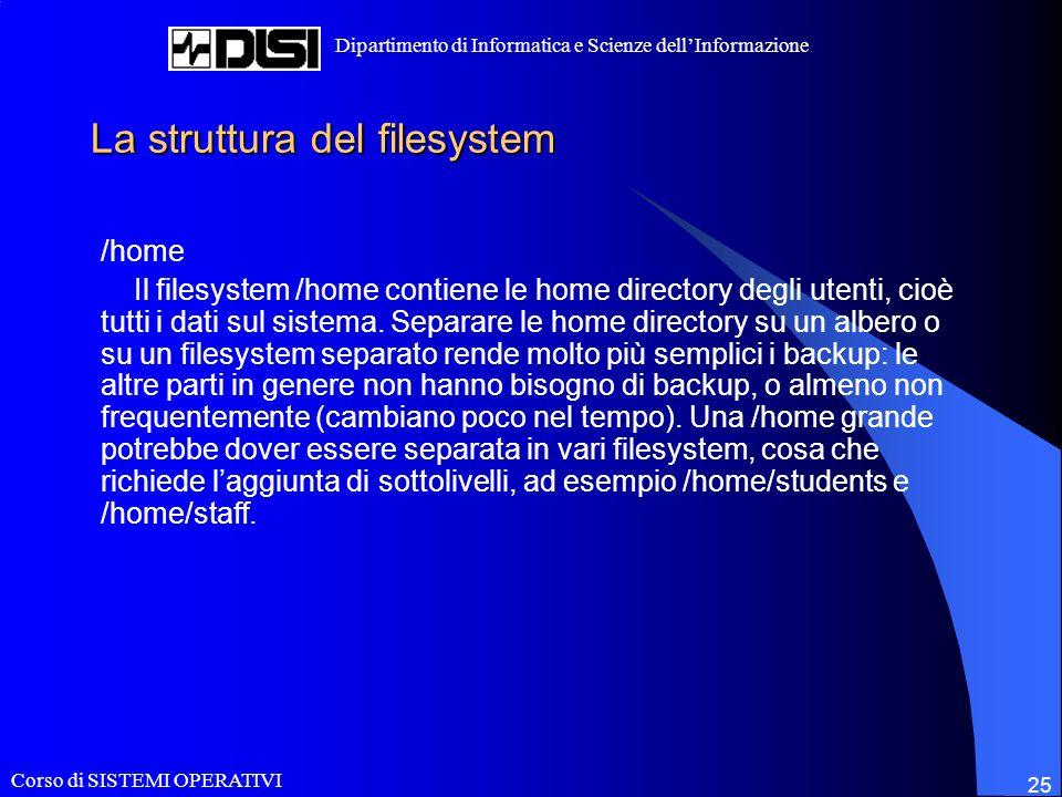Corso di SISTEMI OPERATIVI Dipartimento di Informatica e Scienze dellInformazione 25 La struttura del filesystem /home Il filesystem /home contiene le home directory degli utenti, cioè tutti i dati sul sistema.