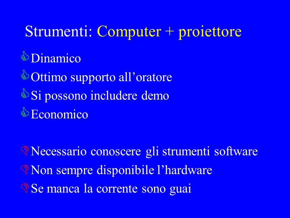 Strumenti: Computer + proiettore Dinamico Ottimo supporto alloratore Si possono includere demo Economico Necessario conoscere gli strumenti software N