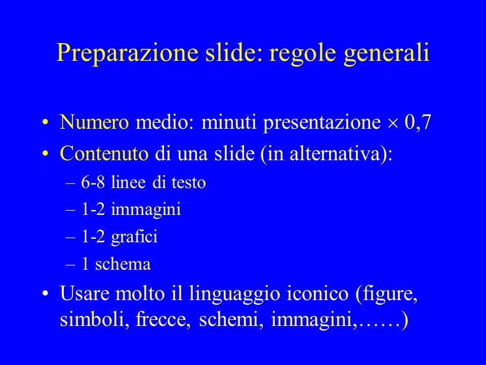 Preparazione slide: regole generali Numero medio: minuti presentazione 0,7 Contenuto di una slide (in alternativa): –6-8 linee di testo –1-2 immagini