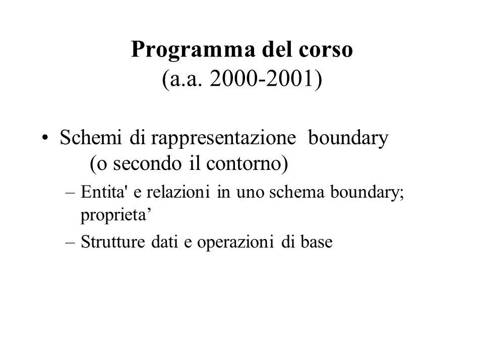 Programma del corso (a.a. 2000-2001) Schemi di rappresentazione boundary (o secondo il contorno) –Entita' e relazioni in uno schema boundary; propriet