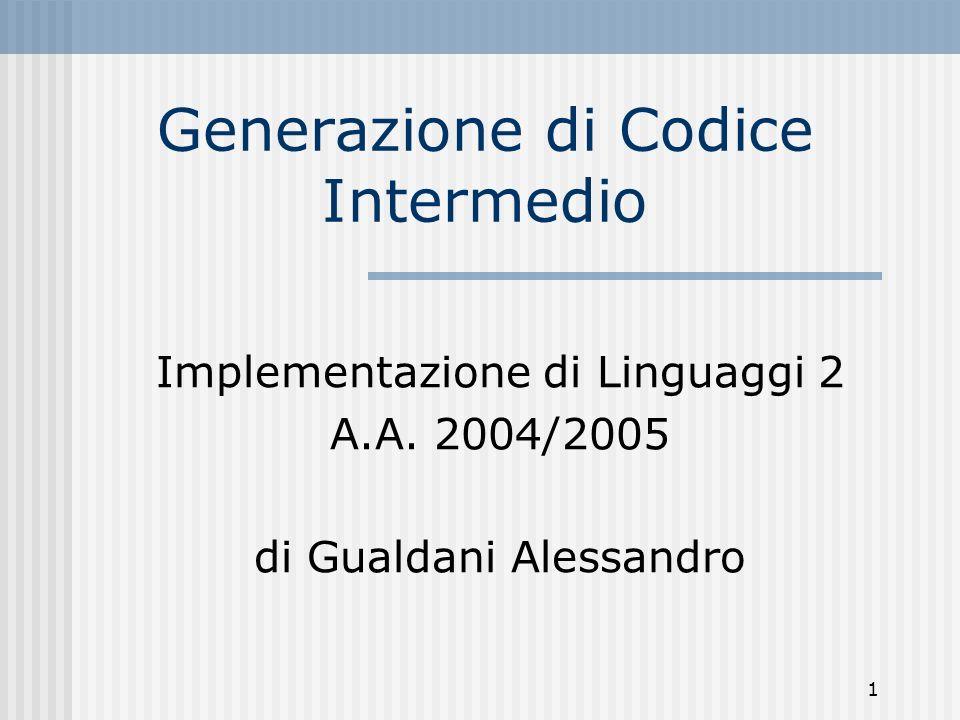 1 Generazione di Codice Intermedio Implementazione di Linguaggi 2 A.A.