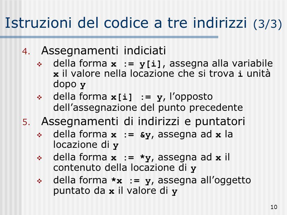 10 Istruzioni del codice a tre indirizzi (3/3) 4.