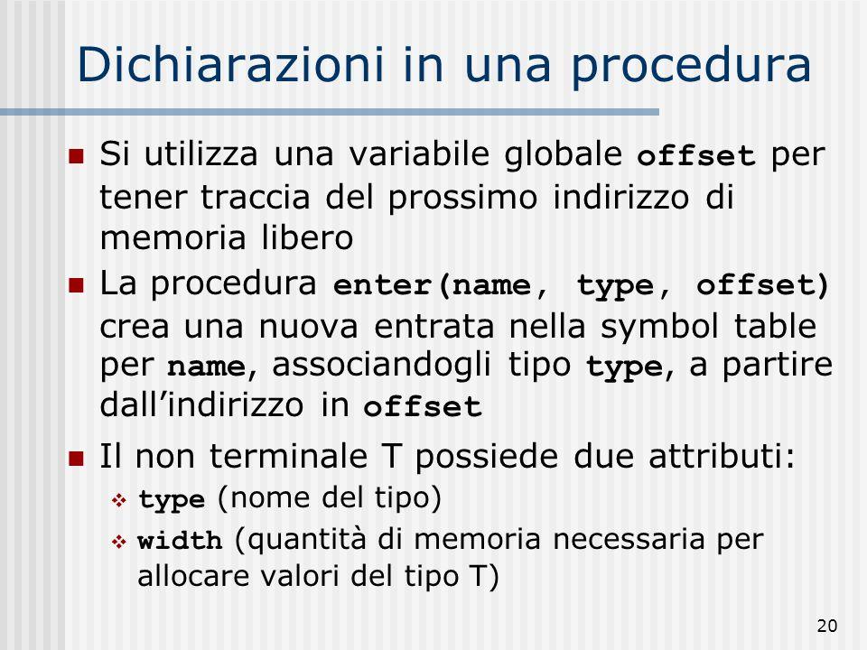 20 Dichiarazioni in una procedura Si utilizza una variabile globale offset per tener traccia del prossimo indirizzo di memoria libero La procedura enter(name, type, offset) crea una nuova entrata nella symbol table per name, associandogli tipo type, a partire dallindirizzo in offset Il non terminale T possiede due attributi: type (nome del tipo) width (quantità di memoria necessaria per allocare valori del tipo T)