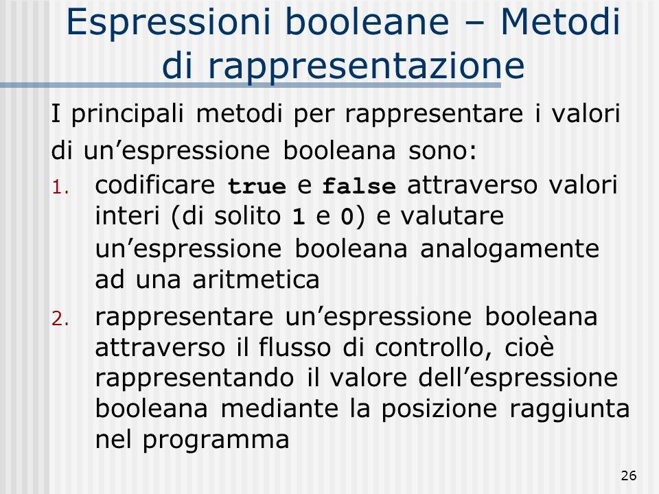 26 Espressioni booleane – Metodi di rappresentazione I principali metodi per rappresentare i valori di unespressione booleana sono: 1.