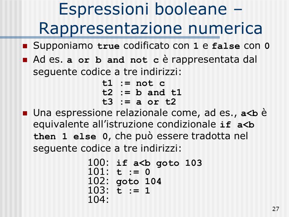 27 Espressioni booleane – Rappresentazione numerica Supponiamo true codificato con 1 e false con 0 Ad es.