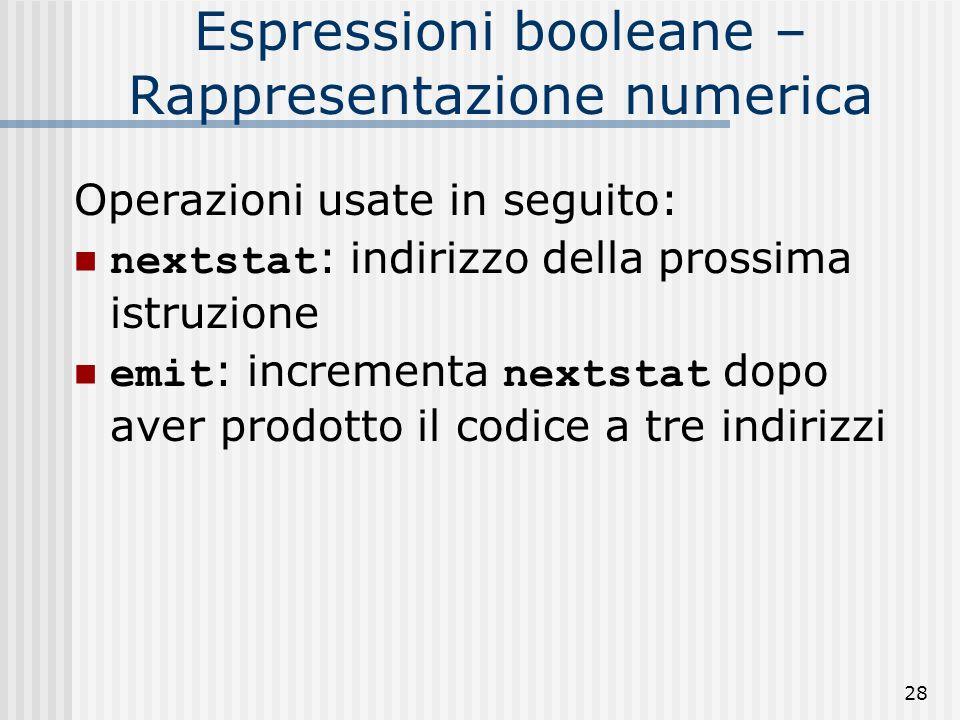 28 Espressioni booleane – Rappresentazione numerica Operazioni usate in seguito: nextstat : indirizzo della prossima istruzione emit : incrementa nextstat dopo aver prodotto il codice a tre indirizzi