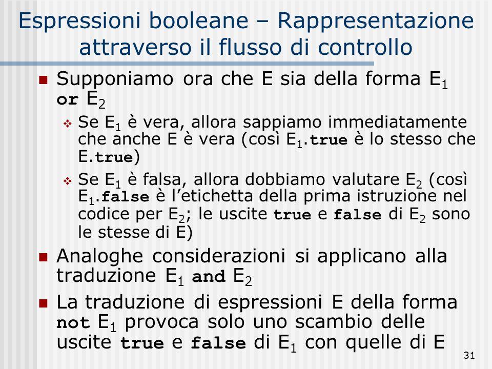 31 Espressioni booleane – Rappresentazione attraverso il flusso di controllo Supponiamo ora che E sia della forma E 1 or E 2 Se E 1 è vera, allora sappiamo immediatamente che anche E è vera (così E 1.