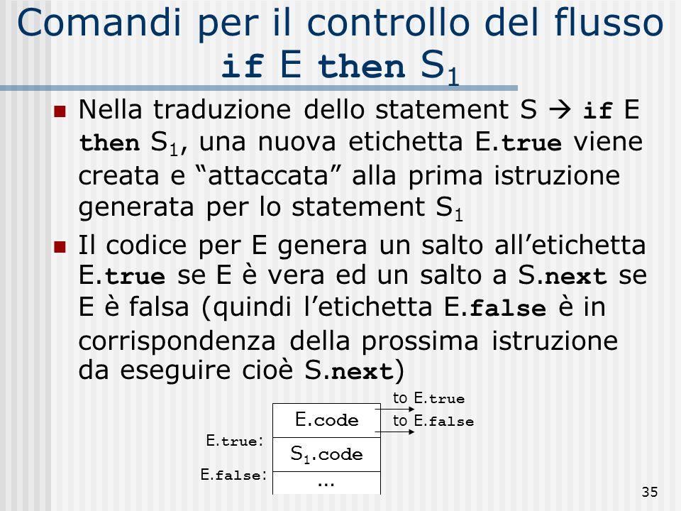 35 Comandi per il controllo del flusso if E then S 1 Nella traduzione dello statement S if E then S 1, una nuova etichetta E.