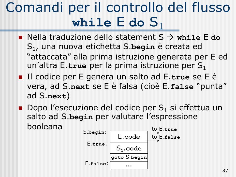 37 Comandi per il controllo del flusso while E do S 1 Nella traduzione dello statement S while E do S 1, una nuova etichetta S.
