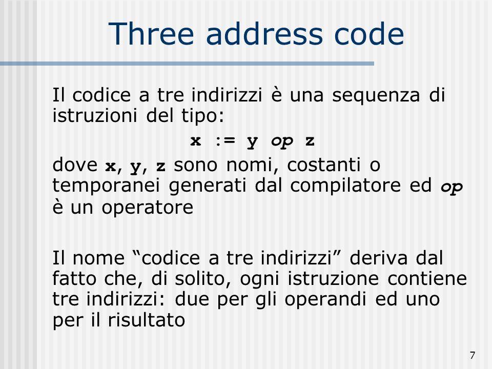 7 Three address code Il codice a tre indirizzi è una sequenza di istruzioni del tipo: x := y op z dove x, y, z sono nomi, costanti o temporanei generati dal compilatore ed op è un operatore Il nome codice a tre indirizzi deriva dal fatto che, di solito, ogni istruzione contiene tre indirizzi: due per gli operandi ed uno per il risultato