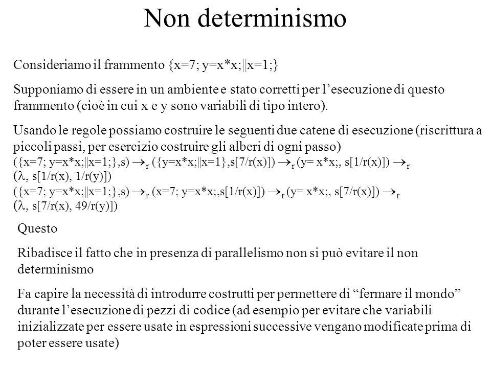 Non determinismo Consideriamo il frammento {x=7; y=x*x;||x=1;} Supponiamo di essere in un ambiente e stato corretti per lesecuzione di questo framment