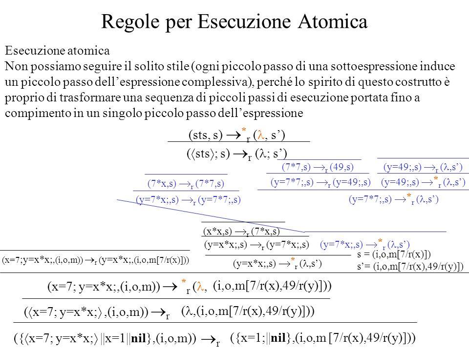 Esecuzione atomica Non possiamo seguire il solito stile (ogni piccolo passo di una sottoespressione induce un piccolo passo dellespressione complessiv