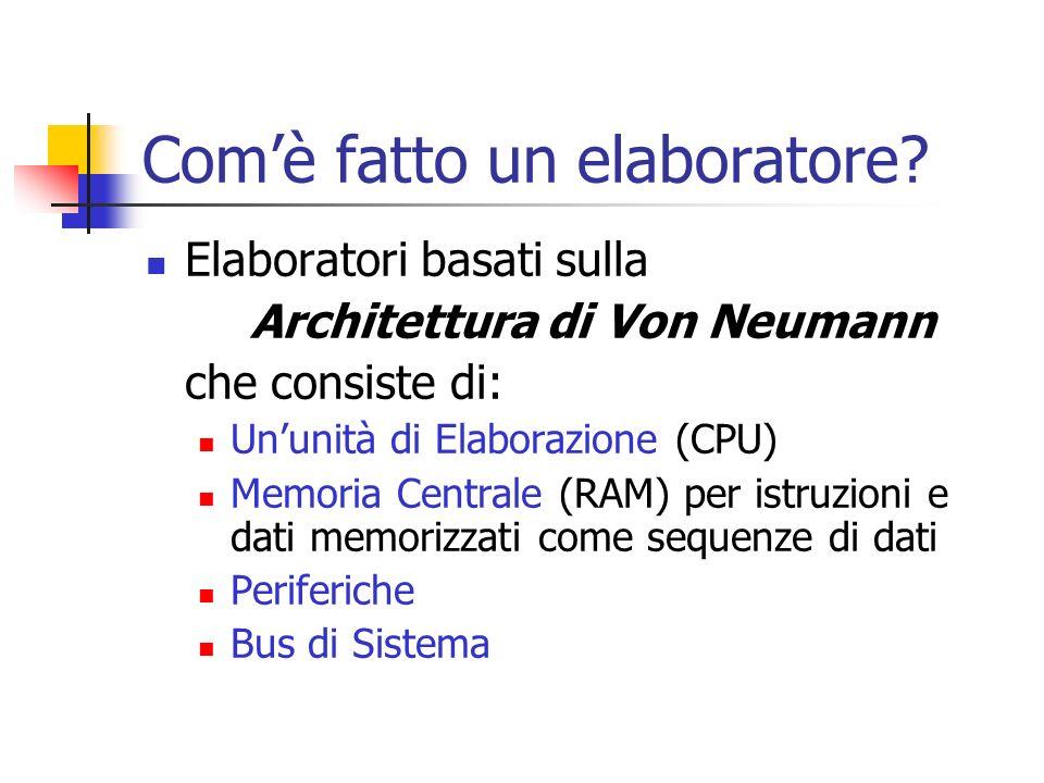 Comè fatto un elaboratore? Elaboratori basati sulla Architettura di Von Neumann che consiste di: Ununità di Elaborazione (CPU) Memoria Centrale (RAM)