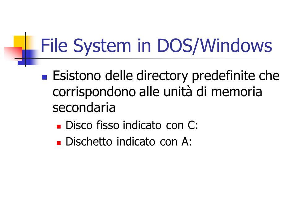 File System in DOS/Windows Esistono delle directory predefinite che corrispondono alle unità di memoria secondaria Disco fisso indicato con C: Dischet
