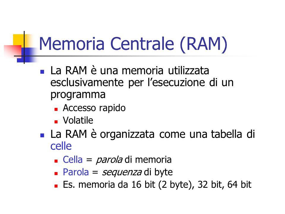 Memoria Centrale (RAM) La RAM è una memoria utilizzata esclusivamente per lesecuzione di un programma Accesso rapido Volatile La RAM è organizzata com