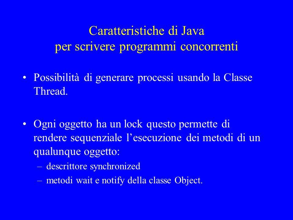 La classe Thread La classe Thread di Java fa parte della libreria Lang (import java.lang.*;); è una sottoclasse di Object ; implementa linterfaccia Runnable (uninterfaccia che ha un unico metodo: il metodo run); ha diversi costruttori (ne vedremo alcuni) molti metodi (ne vedremo solo alcuni tra cui il metodo run)