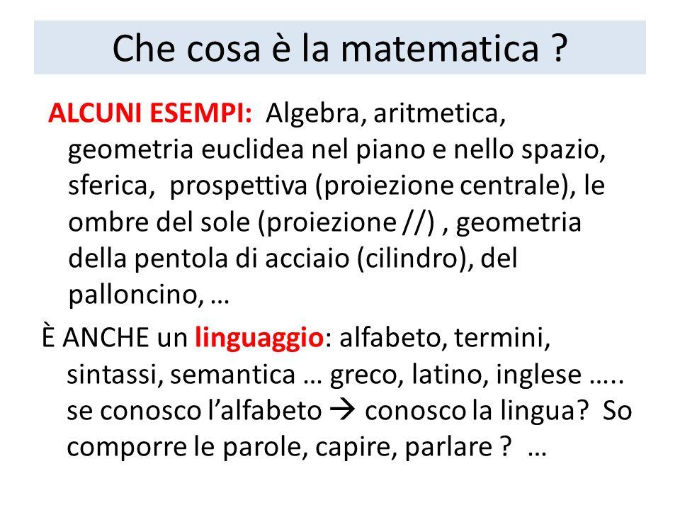Che cosa è la matematica ? ALCUNI ESEMPI: Algebra, aritmetica, geometria euclidea nel piano e nello spazio, sferica, prospettiva (proiezione centrale)