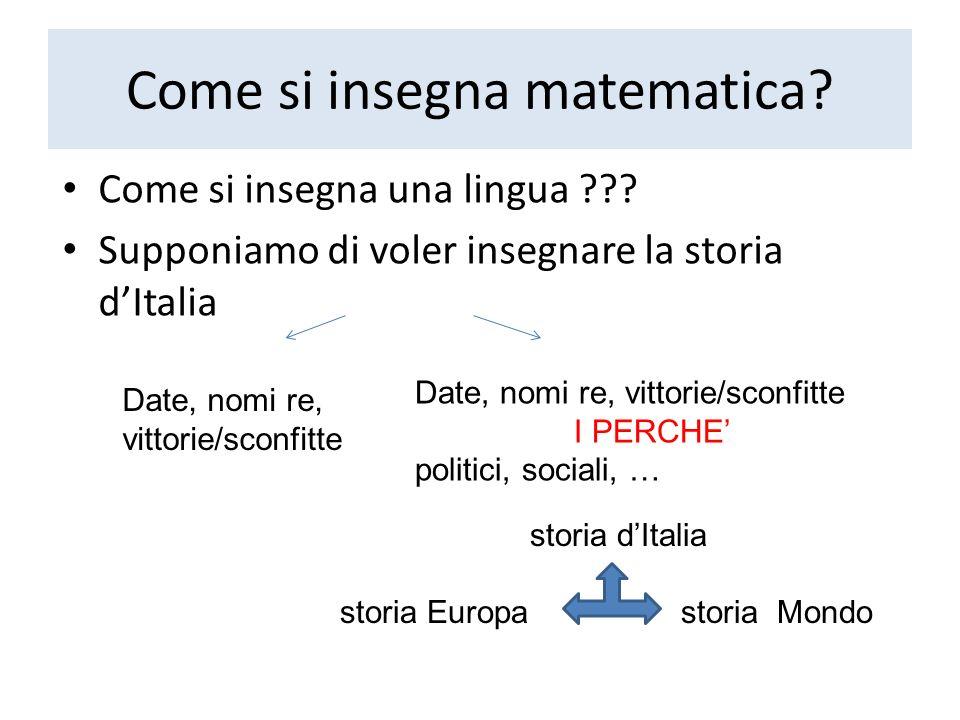Come si insegna matematica? Come si insegna una lingua ??? Supponiamo di voler insegnare la storia dItalia Date, nomi re, vittorie/sconfitte I PERCHE