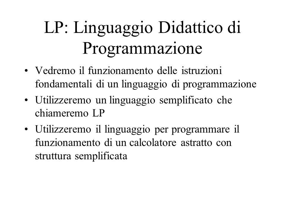 LP: Linguaggio Didattico di Programmazione Vedremo il funzionamento delle istruzioni fondamentali di un linguaggio di programmazione Utilizzeremo un l