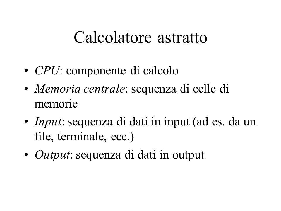 Calcolatore astratto CPU: componente di calcolo Memoria centrale: sequenza di celle di memorie Input: sequenza di dati in input (ad es. da un file, te