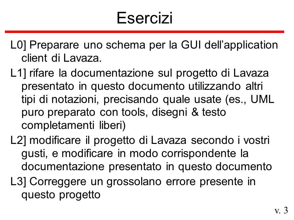 v. 3 Esercizi L0] Preparare uno schema per la GUI dellapplication client di Lavaza.