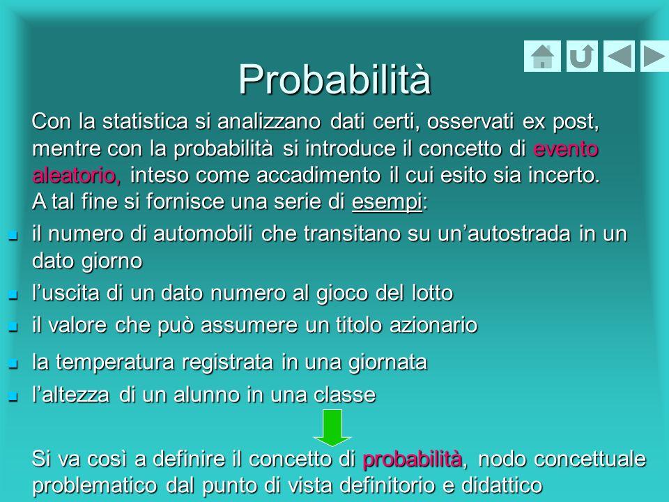 Probabilità Con la statistica si analizzano dati certi, osservati ex post, mentre con la probabilità si introduce il concetto di evento aleatorio, int