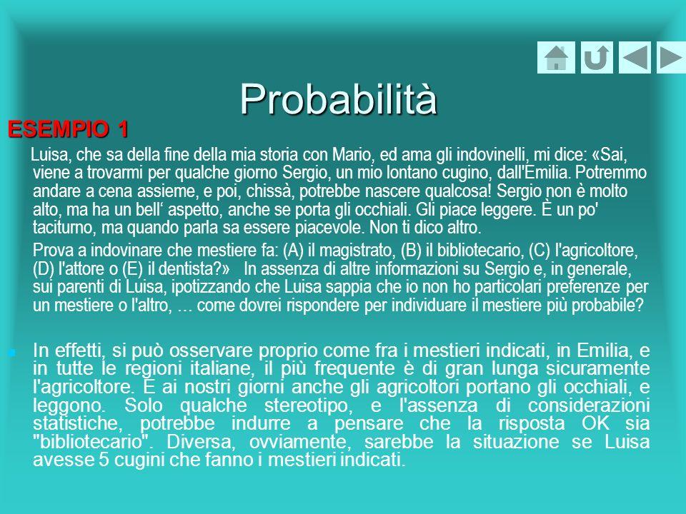 Probabilità ESEMPIO 2 Lancio ripetutamente un dado (non truccato).Quale tra i seguenti fatti è più probabile.