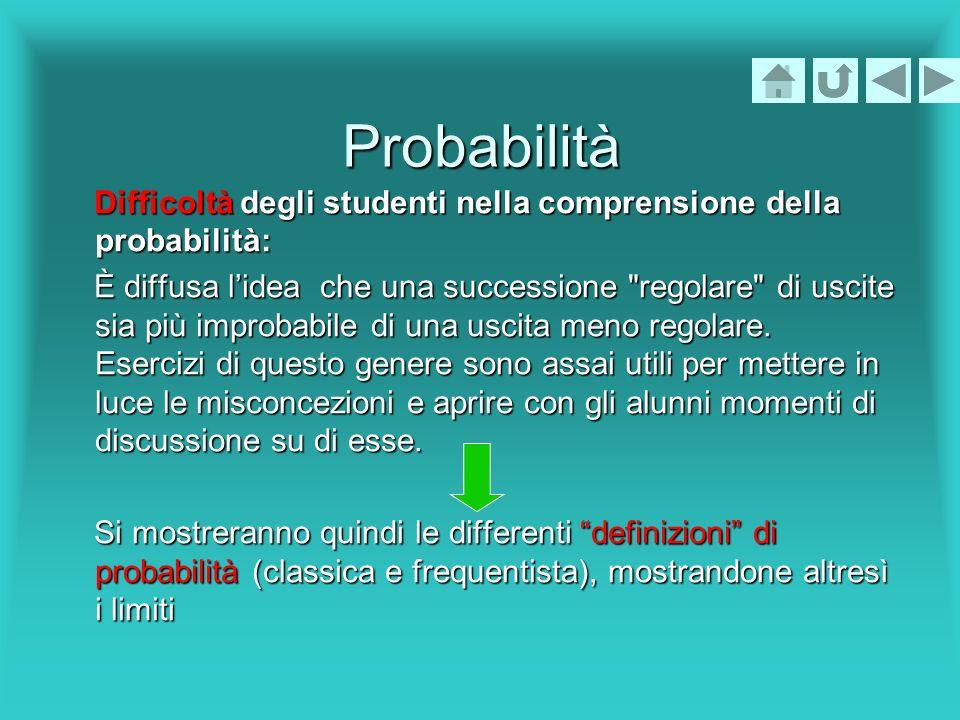 Probabilità Difficoltà degli studenti nella comprensione della probabilità: Difficoltà degli studenti nella comprensione della probabilità: È diffusa